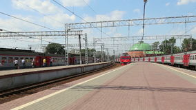 Train on Leningradsky railway station and passengers-- is one of the nine main railway stations of Moscow, Russia.  stock footage