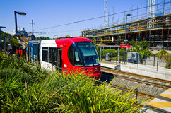 Train at light rail station, Sydney, Australia Stock Image