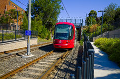 Train at light rail station, Sydney, Australia Royalty Free Stock Images