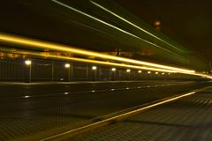 Train with light trails Stock Photo