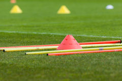 Train like a proffesional. Proffesional football training with boundary poles Royalty Free Stock Photo