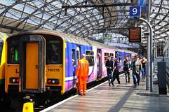 Train in Lime Street Railway Station. Stock Photo