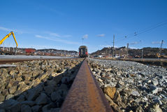 Train on the line. Stock Images