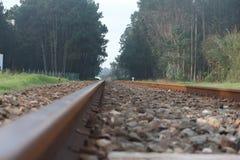Train line. Closeup of a train line near Caldas da Rainha city - Portugal Stock Photo