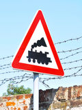 Train line crossing - Road sign Royalty Free Stock Photo