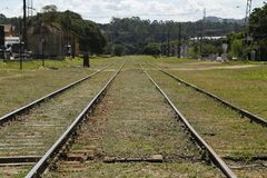 Train Line in parallel to infinite. royalty free stock images
