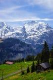 Train line running through the Swiss Alps Stock Photo