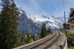 Train line running through the Swiss Alps Royalty Free Stock Photography