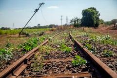 Train line. Vintage rail railway royalty free stock photography