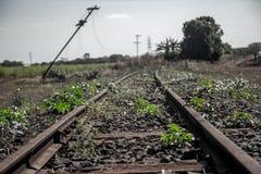 Train line. Vintage rail railway royalty free stock image