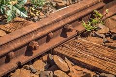 Train line. Vintage rail railway stock photo