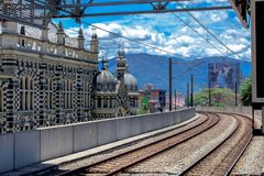 Train lines in medellin city on a sunny day stock photography
