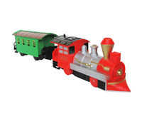 Train. Little kids toy train with a trailer on a white background Royalty Free Stock Images