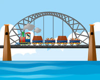 Train loaded with logs and stones on the bridge. Illustration royalty free illustration