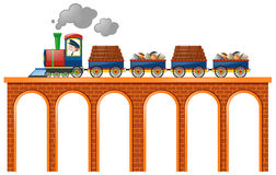 Train loaded with woods and rocks. Illustration stock illustration