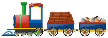 Train loaded with woods and stones. Illustration stock illustration