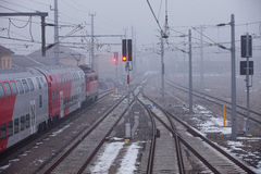 Train at local line. Train is crossing the fog at the local line royalty free stock photography