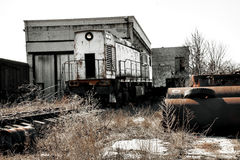 Train locomotive on the ruins. Of an unfinished nuclear power plant, Ukraine, Odessa region royalty free stock image