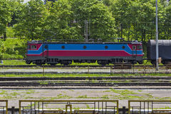 Train locomotive in station Royalty Free Stock Image