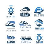 Train logo original design set, modern railway railroad transport emblem badge vector Illustrations. Isolated on a white background royalty free illustration
