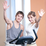 Train on machine in a gym Stock Photography