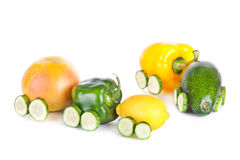 Train made of various fruit and vegetables isolated Royalty Free Stock Photography