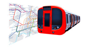 Train and main section of the London Underground. Map royalty free stock photography