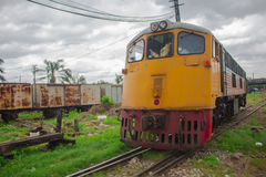 Train  at the maintenance center in Thailand. Royalty Free Stock Photography