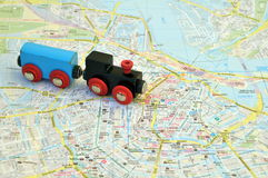 Train on the map of the city Royalty Free Stock Images