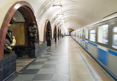 Train at the metro station Ploschad Revolutsii in Moscow, Russia Stock Image