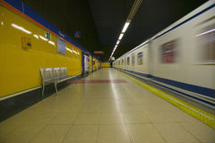 Train at Metro subway train station in Madrid, Spain Stock Photography