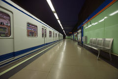 Train at Metro subway train station in Madrid, Spain Royalty Free Stock Photography