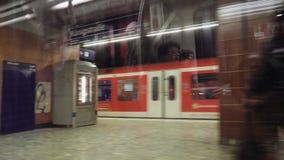 Train metro window of Hamburg station time lapse fast motion stock footage