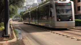 Train of the MetroRail in Houston City, USA stock video