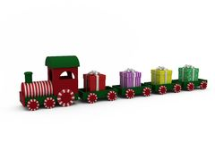 Train model carrying gift boxes Stock Photography