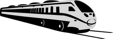 Train. Modern lines depicts a grey train on the tracks Stock Images