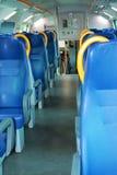 Train moderne et sièges bleus Images libres de droits