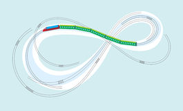 Train on the Moebius strip Royalty Free Stock Photography