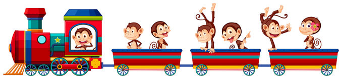 Train and monkeys Royalty Free Stock Image