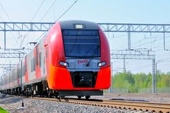 Train of the Moscow central railway circle - MCC. Moscow, Russia - May 5, 2018: Train of the Moscow central railway circle - MCC, called Lastochka Swallow in Royalty Free Stock Photo