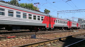 Train on Moscow passenger platform (Belorussky railway station) is one of the nine main railway stations in Moscow, Russia.  stock footage