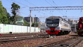 Train on Moscow passenger platform Belorussky railway station is one of the nine main railway stations in Moscow, Russia. Train on Moscow passenger platform stock footage