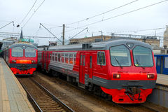 Train on Moscow passenger platform Royalty Free Stock Photography