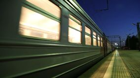 Train on Moscow passenger platform at night Belorussky railway station -- is one of the nine main railway stations in Moscow. Russia. It was opened in 1870 and stock video footage