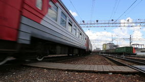 Train on Moscow passenger platform (Savelovsky railway station) is one of the nine main railway stations in Moscow, Russia.  stock footage