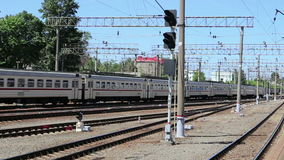 Train on Moscow passenger platform Yaroslavsky railway station and passengers, Russia. Is one of nine main railway stations in Moscow, situated on stock video footage