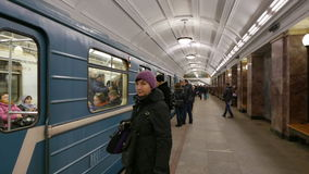 Train of Moscow Subway. MOSCOW, RUSSIA. 17 JAN 2015. Belorusskaya subway station. Editorial video. Shooting in 4K and downscaling to Full HD stock video