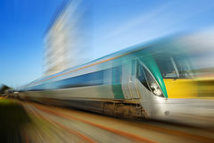 Train in motion. Intercity train in motion with blured background Stock Photography