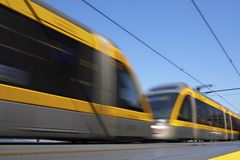 Train in motion. Speedy train in blurriness of motion Stock Image