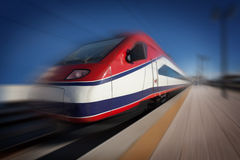 Train in motion Stock Image
